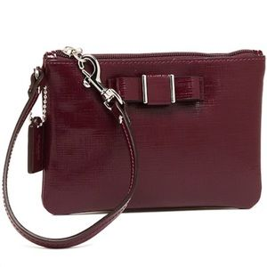 Coach Darcy Sherry Patent Leather Bow Wristlet